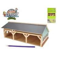 Drewniany garaż dla traktora 1:87 17x30x11,9 cm w pudełku