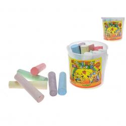 Křídy barevné velké 15ks v plastovém kbelíku