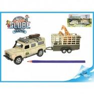 Land Rover z przyczepą i żyrafą