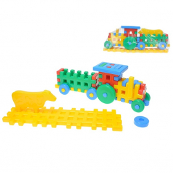 Kocky konštrukt traktor 38cm + zvieratko na karte