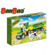 BanBao stavebnice Eco Farm farmářský traktůrek s vlečkou 115ks + 1 figurka ToBees v krabičce