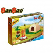 BanBao stavebnice Safari malý stan s ohništěm 46ks + 1 figurka ToBees v krabičce