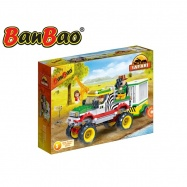 BanBao stavebnice Safari jeep se zvířecí klecí 355 ks + 3 figurky ToBees v krabičce