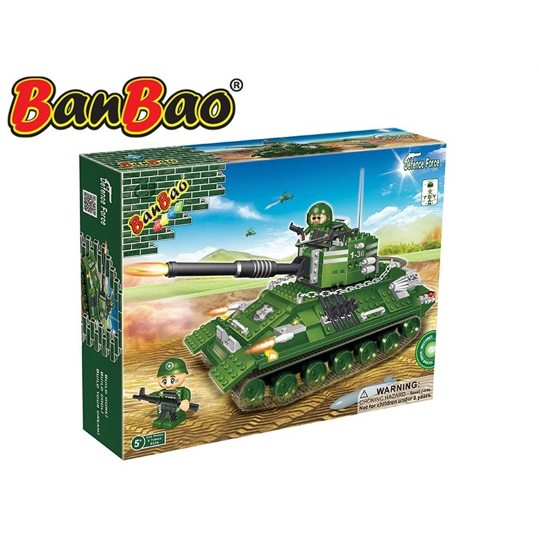 BanBao stavebnice Defence Force tank Centurion 330ks + 2 figurky ToBees