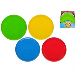 Latający dysk 23cm. 4 wzory (zielony, żółty, czerwony, niebieski). Pakowany w displayu po 24 sztuki