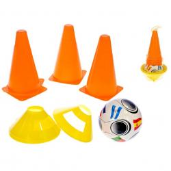 Futbalové kužele 4ks + méty 4ks s loptou 10m + v sieťke