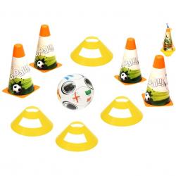 Fotbalové kužely 18cm 4ks + mety 4ks s míčem 12cm 10m+ v síťce