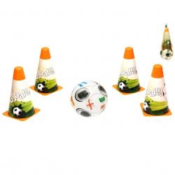 Futbalové kužele 18cm 4ks s loptou 12cm 10m + v sieťke