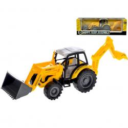 Traktor nakladač s bagrom 29cm na zotrvačník v krabičke