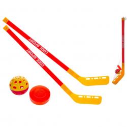 Hokejky 75cm 2ks s míčkem a pukem v síťce