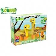BiOBUDDi stavebnice Wildlife Steppe 2v1 žirafa/jelen 14ks 18m+ v krabičce