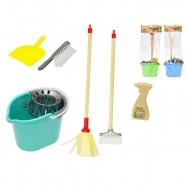 Úklidová sada - kbelík 22cm s mopem 44cm, košťátkem 44cm a doplňky 3barvy v sáčku