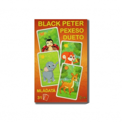 Čierny Peter / Pexeso / Dueto mláďatá 3v1 7x10,5x1,5cm 31ks v krabičke