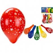 Nafukovací balónky 30cm s hvězdami 5barev 6ks v sáčku