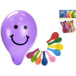 Nafukovacie balóniky 26cm sa smajlíkom 10barev 10ks v sáčku