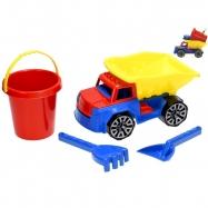 Nákladní auto 29cm se sadou na písek - kbelík, lopatka a hrabičky v síťce