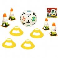 Fotbalové kužely 18cm 4ks s míčem 23cm + mety 4ks v krabičce