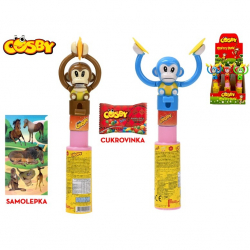 Cosby Monkey show 23cm s cukrovinkou a samolepkou 4barvy 12ks v DBX