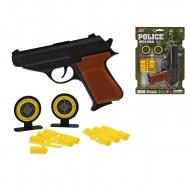 Pistole 16cm s gumovými náboji a doplňky na kartě