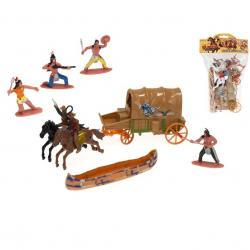 Sada figurek 6ks 6cm indiáni a kovbojové s doplňky 2druhy v sáčku