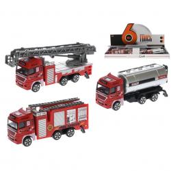 Auto hasiči kov 12cm volný chod 3druhy 12ks v DBX