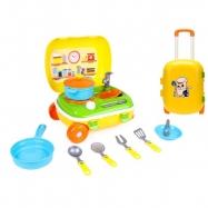 Kufrík na kolieskach / kuchynka s riadom 2v1 žltá