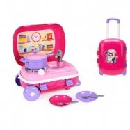Kufřík na kolečkách/kuchyňka s nádobím 2v1 růžová