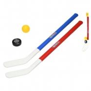 Hokejka 71cm 2ks s loptičkou a pukom v sieťke
