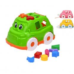 Auto/vkládačka 25,5cm 2v1 geometrické tvary a zvířátka 3barvy 12m+ v síťce