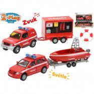 Hasičská autá 13cm kov s prívesom a vozíkom 2-Play na batérie so svetlom a zvukom v krabičke