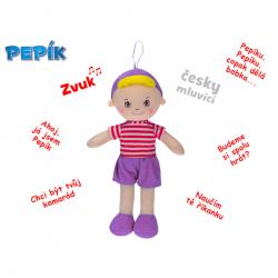 Panáčik Pepík handrový 32cm na batérie česky hovoriaci fialový 0m+