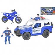 Auto policajné 23cm na voľný chod s motorkou 12 cm a 2ks postavičiek v krabičke