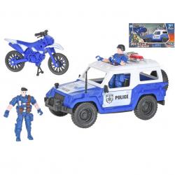 Auto policejní 23cm na volný chod s motorkou 12cm a 2ks postaviček v krabičce