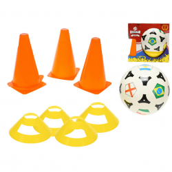 Fotbalové kužely 18cm 4ks s míčem 23cm + mety 4ks 10m+ v krabičce