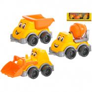 Autá stavebné veselá 11-13cm 3ks v krabičke
