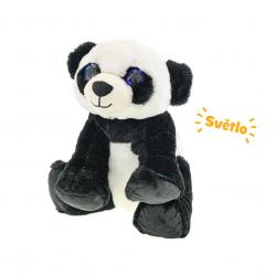 Panda pluszowa 27 cm siedząca na akumulatorze ze światłem 10m +