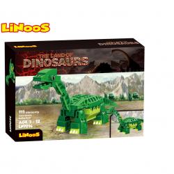 LiNooS stavebnice 111ks dinosaurus Brontosaurus v krabičce