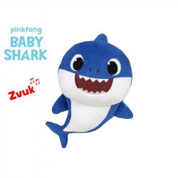 Pluszowy rekin z dźwiękiem 27 cm niebieski