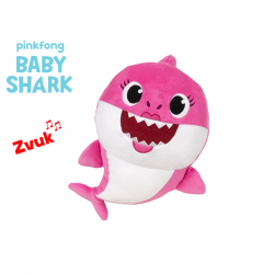 Pluszowy rekin z dźwiękiem 27 cm róźowy