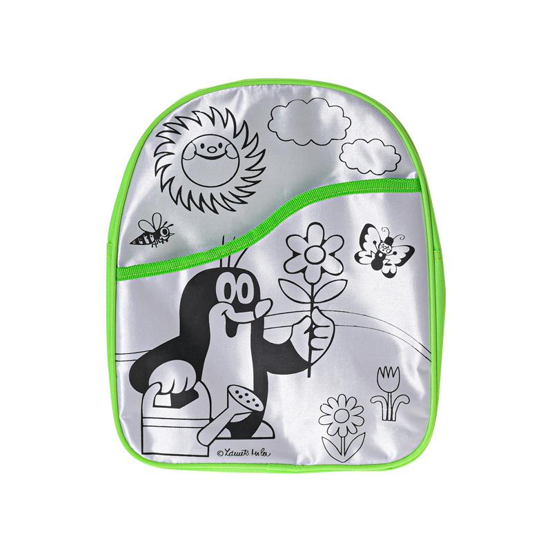 Batoh vyfarbovacií Krtko 29cm zelený + zmývateľná fixa 8ks v krabičke