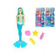 Mořská panna 36cm s doplňky 3barvy na kartě
