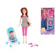 Panenka kloubová 29cm s holčičkou v kočárku a doplňky 2 druhy v krabičce