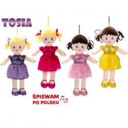 Bábika Tosia handrová 32cm na batérie poľsky hovoriace a spievajúci 4barvy v sáčku