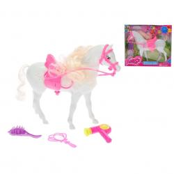 Kôň biely 24cm so sedlom a doplnkami v krabičke