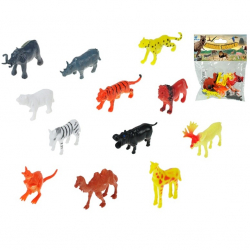 Zestaw zwierząt safari (12 szt.) 12 wzorów 5-6,5cm w torbie