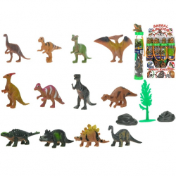 Dinosaurus 3-6cm s doplnkami v tube 12ks v DBX
