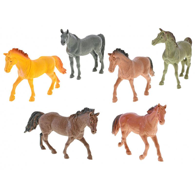 Plastikowe konie 12-14 cm 6 szt. w torbie