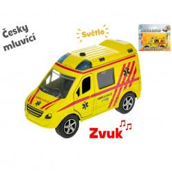 Auto ambulancie 11 cm kov spätný chod na batérie česky hovoriaci so svetlom v krabičke