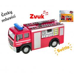 Auto hasiči 12 cm kov spätný chod na batérie česky hovoriaci so svetlom v krabičke