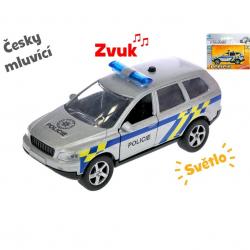 Auto polícia 11 cm kov spätný chod na batérie česky hovoriaci so svetlom v krabičke